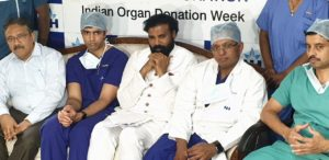 Mr. Jawaid Akhtar, Principal Secretary, Health and Family Welfare- Govt. of Karnataka, Dr. Varun Shetty, Cardiothoracic Surgeon, Narayana Health City, Dr. Julius Punnen, Heart & Lung Transplant Surgeon, Narayana Health City and Dr. Shashiraj S, Cardiologist- Congenital Heart Diseases, Narayana Health City