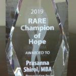 "Prasanna Shirol,Co-founder-ORDI receives ""Rare Champion of Hope"" award"